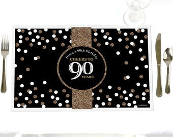 90th Birthday - Party Table Decorations - Adult 90th Birthday - Gold - Personalized Birthday Party Placemats - Party Supplies - Set of 12