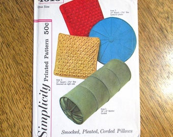 VINTAGE 1960s Smocked Pillows w/ Origami Patterns - (Sunburst Round, Bolster & Square Shape) - UNCUT Sewing Pattern Simplicity 4515