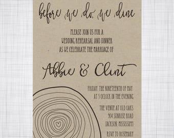 Rehearsal Dinner Invitation. Outdoor Wedding Invitation. Wedding Invitation. Tree Rings Invitation.