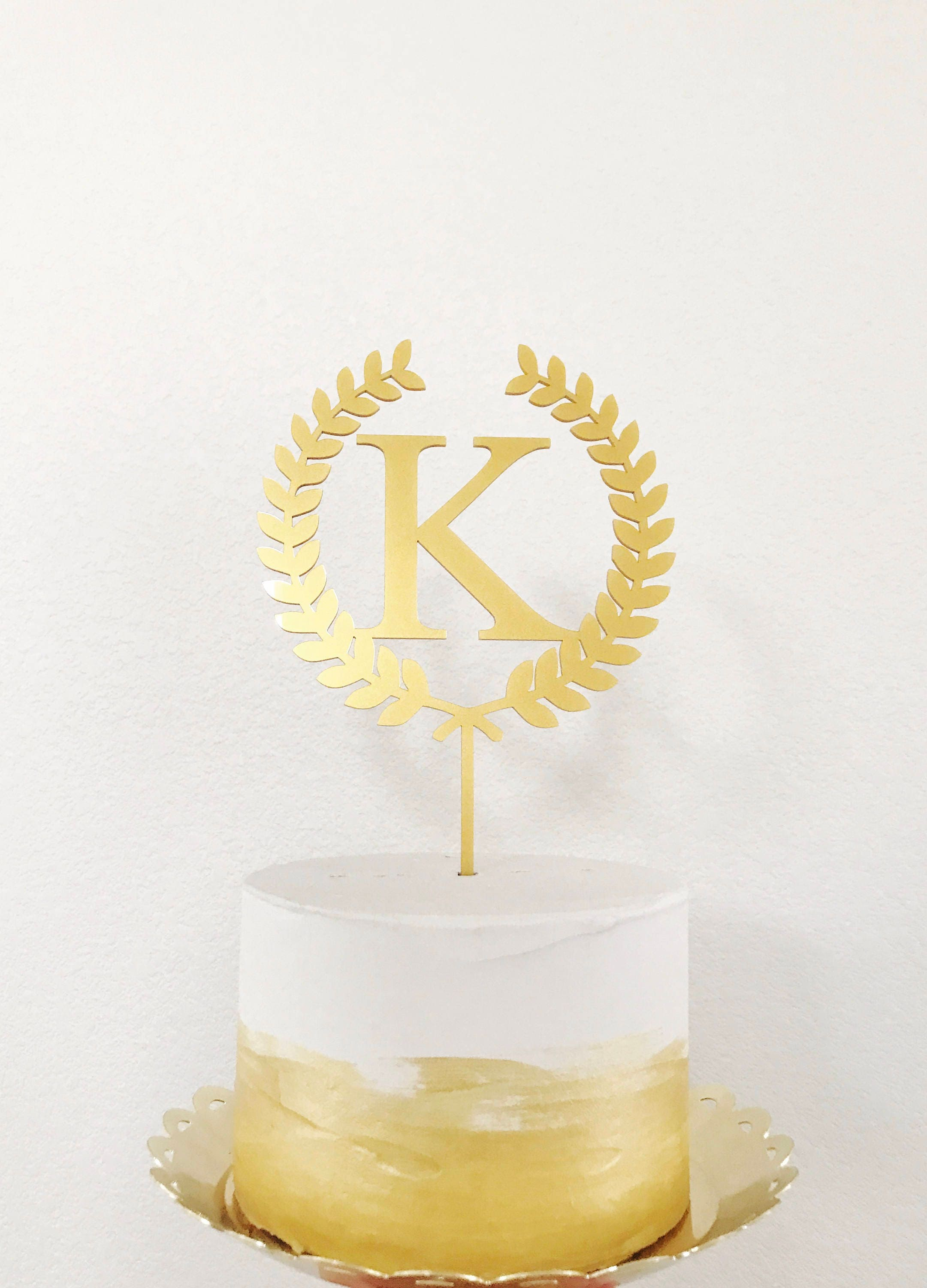 Personalized Monogram Wedding Cake Topper, Rustic Chic, Name Initial ...