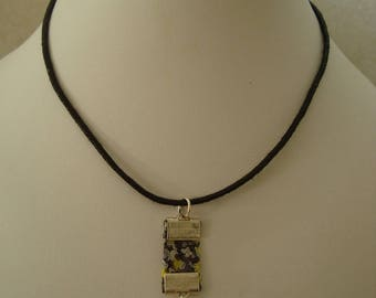 Grey and yellow liberty cube charm necklace