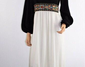 Vintage 70's Hippie Boho Peasant Black White Nylon Maxi Dress Size Small
