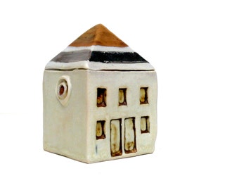 Miniature House , Fairy House , Tiny House Collecting ,  Architecture, Gold And Silver House, Neutral Decor , Townhouse