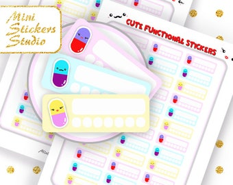 Cute Pills Reminder Stickers Printable Medicine Tracker Planner stickers Happy Planner Filofax Erin Condren Kawaii Kikki K Silhouette COUPON