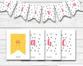 Flamingo Banner, Let's Flamingle, Black and White Confetti, Pink and Yellow, Flamingo Party, Flamingo Birthday, Printable Banner, Bunting