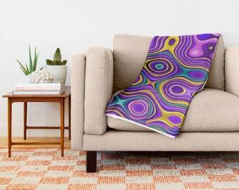 Purple Throw Blanket-Bed Blanket-Abstract Fleece Blanket-Coral Fleece Blanket-Teen Bedroom-Home Decor-Sofa Throw-30x40/50x60/60x80/88x104