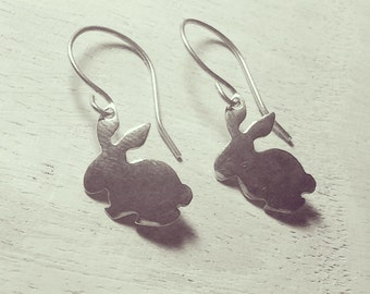 Easter Bunny Earrings, dangle earrings, drop earrings, rabbit earrings, cute earrings, bunny rabbit, gifts for her, silver bunny earrings