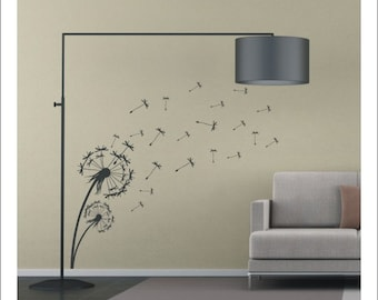 Vinyl dandelion wall art sticker - floral flower - 90cm tall - WS1004