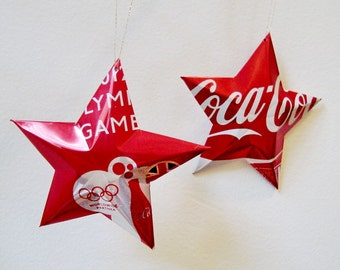 Olympic Games 2012  London Coke Stars Christmas Ornaments  Soda Can Upcycled Coca Cola
