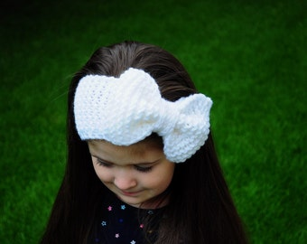 Knit Headband Bow, knitted bow, Winter Knit Headbands, Girls Knit Headbands, Kids Knit Headbands, Womens Knit Headbands