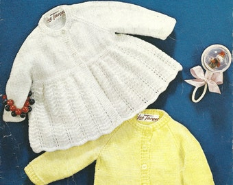 Lee Target 6177 Vintage Original Knitting Patterns for Toddlers Cardigan and Matinee Coat