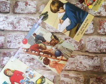 Vintage children's Ladybird book paper bunting garland - baby nursery retro kids recycled 1960s pages