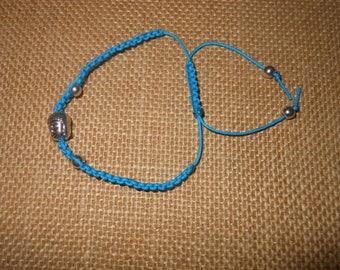 Blue Buddha with silver beads adjustable bracelet