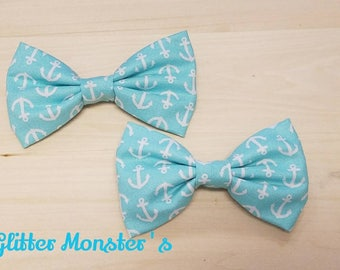 Boys Aqua Blue Anchor Bow Tie, Aqua Cotton Bow Tie, Ring Bearer Bow Tie, Groomsmen Bow Tie, Summer Wedding Bow Tie, Anchor Themed Wedding