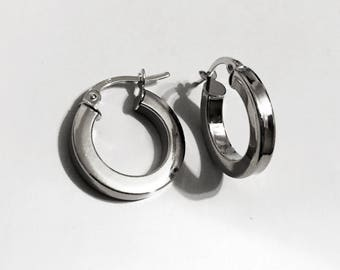 14k solid white gold(15mm)full moon hoop earrings