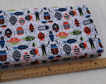 1/2 Yard Novelty Cotton Fabric Multi Color Bugs