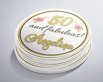 50th Birthday Party, 50 and Fabulous, 50th Birthday Stickers, 50th Party Favors, 50th Birthday Ideas, Fifty Birthday, 50th Birthday Woman