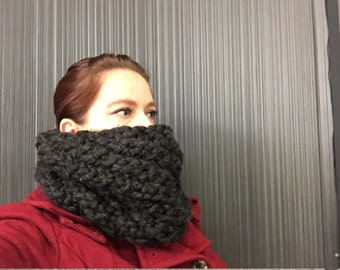 Women's dark grey, hand knitted chunky wool blend cowl.