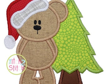 """Chritsmas Bear Tree Shown with our """"Sweet Sixteen"""" Font NOT Included Applique Design Sizes 4x4, 5x7 and 6x10 INSTANT DOWNLOAD now available"""