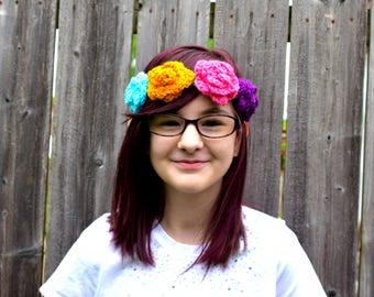 Crochet Flower Crown Headband