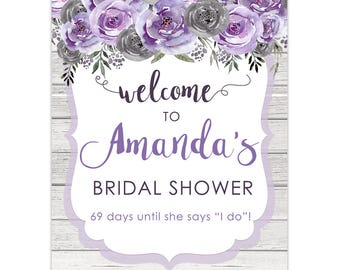 Purple Floral Bridal Shower Sign, Purple Gray Bridal, Rustic Bridal Shower Sign, Printable Floral Bridal Shower Sign