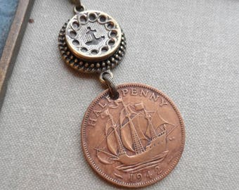 Tall Ship, 1942 Half Penny Vintage Coin Necklace with Antique Button