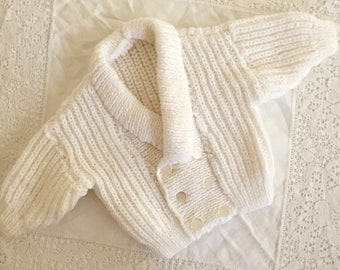 White Hand Knit Baby Cardigan