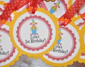 Clown Tags. Favor Tags. Circus Tags. Tags. Set of 12