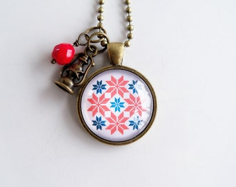 Nordic Pendant Necklace - Red White Blue - Winter Jewelry - Nordic Ornament - Scandinavian - Christmas Necklace - Holiday Gift - Norwegian