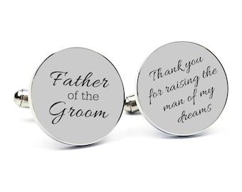Custom Cufflinks Engraved Cufflinks Round Personalized Cufflink Cuff link Gift for Him Father of the Groom Gift Father of the Groom Cufflink