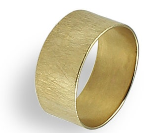 Wide Wedding Band , Gold Wedding Ring For Women , Brushed Finish , Yellow Gold ,Texture Ring , Unique Wedding Ring