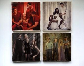 True Blood Stone Coasters (Set of 4) - Sookie Stackhouse Eric Northman Bill Compton Sam Merlotte Pam Lafayette Jessica Tara Alcide Jason