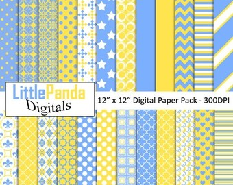 60% OFF SALE Blue yellow digital paper, scrapbook papers, background, commercial use, chevron, stripes, polka dots, stars - D438