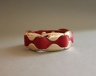 Leather Bracelet with 14K Gold Plated Wave Ornament(RED)