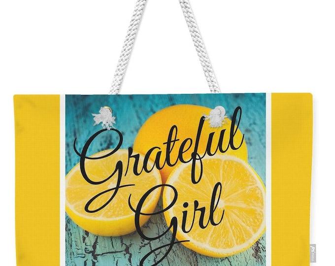 """Weekender Tote Bag """"Grateful Girl"""""""