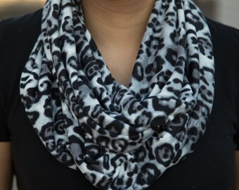 Large Print Grey and Black Leopard Print Infinity Scarf
