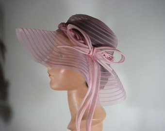 1960s Pretty Pink Net Hat with Organdy Ribbon/Bow....size Medium
