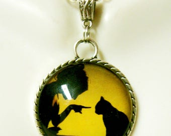 Black silhouette lady and cat pendant with chain - CAP26-021