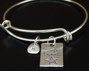 Safe Travels Bracelet, Safe Travels Bangle, Safe Travels Charm, Safe Travels Pendant, Safe Travels Jewelry, Travel Bracelet,Traveler Jewelry