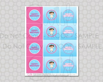 """Space Party  Party Circles for Girls - Space Party  2"""" cupcake toppers  - digital - printable - diy"""