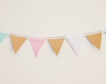 Pink, Mint, Pale Blue Polka Dot and Gold Leatherette / Faux Leather Bunting