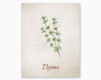 THYME PRINTABLE, Kitchen Herbs Art, Kitchen Decor, Kitchen Art Print, Rustic Kitchen Art, Vintage Kitchen, DIY Kitchen Art, Instant Download