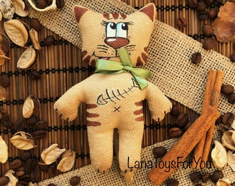 Cat Toy Vanilla Cinnamon Coffee, Cat Toy with Fish, CatToy Sachet Vanilla Cinnamon Coffee, Cute Kitten with Green Pink Bow