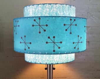 Mid Century Modern Style Fiberglass Lamp Shade Atomic Lighting 3T  5.2
