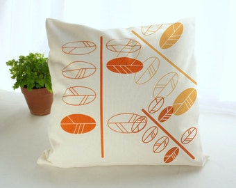 Modern Cushion cover with leaves screen printed- Orange hues twig print