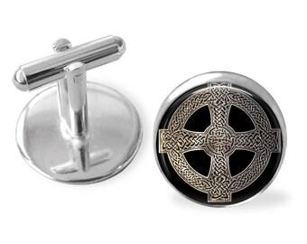 CELTIC CROSS CUFFLINKS / Silver Design / Gift for Him / Irish Cufflinks / 2 Sizes / Cuff Links / Scottish Cufflinks / groomsmen gift