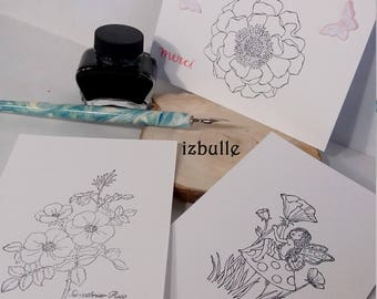 Postcards, coloring, any occasion, fairy, flower