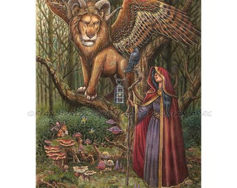 "FANTASY ART, Pop Surrealism, Lowbrow, Sorceress, Lion-The Alliance Came Unlooked For-PRINT-12""x16""by Fian Arroyo-Unframed wall decor"