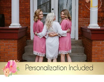 Set of 6 Bridesmaid robes, Personalized Robe , Mix & Match, Cotton Lace Robe Bridesmaid gift, Getting ready photo
