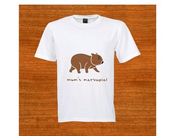 "Child T-shirt. ""Mum's marsupial"". Australia. Wombat. Birthday gift. Christmas gift. Baby shower gift, Kids clothes. Toddler clothing."